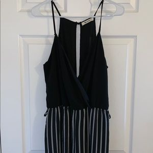 Pants - Black and White Pinstriped Jumpsuit